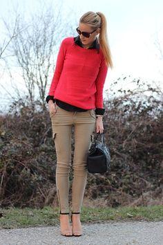 H Sweater, H Pants, Zara Sandals, Lacoste Bag