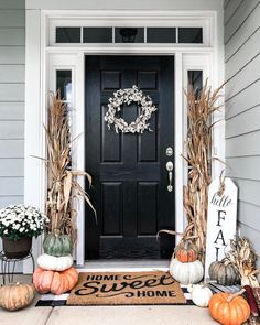 Decorating Porch for Fall Outdoor . Decorating Porch for Fall Outdoor . Fall Decorated Front Porch Inspiration Outdoordecor In 2019 Fall Home Decor, Autumn Home, Front Porch Fall Decor, Fall Front Door Decorations, Fall Front Porches, Modern Fall Decor, Front Porch Design, Front Porch Decorating For Fall, Fall Front Doors