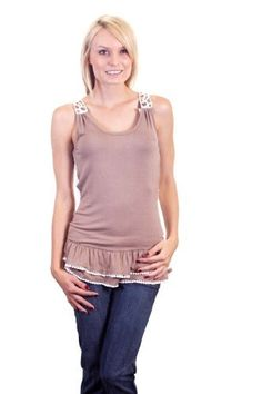 Ina Open Crochet Macramé Back Sleeveless Ruffled Hem Pom Pom Ball Fringe Trim Blouse Brown Ina. $9.99