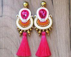 Bridal Earrings clip-on Long Tassel Earrings Coral beige | Etsy