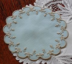 Em's Heart Linens -Embroidered Marghab Vintage Organdy Cocktail Napkins Old France