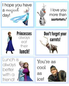 FREE FROZEN Printable Back to School Lunch Box Notes {Disney Edition!}