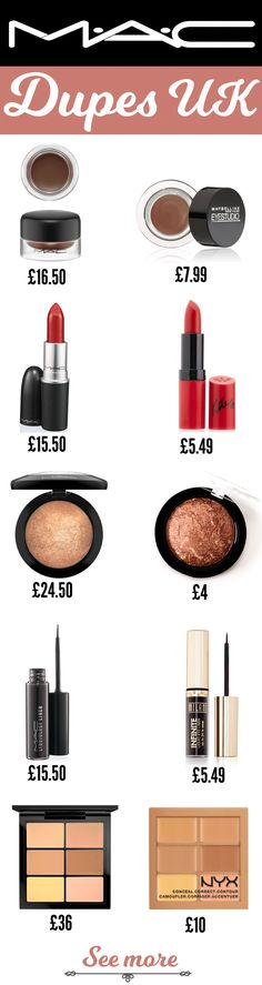 MAC Makeup Dupes UK Want to know what the best MAC Dupes in the UK are?Want to know what the best MAC Dupes in the UK are? Mac Dupes, Mac Makeup Dupes, Best Mac Makeup, Best Makeup Brushes, Beauty Dupes, Makeup Brush Set, Beauty Makeup, Eyeshadow Dupes, Makeup Geek