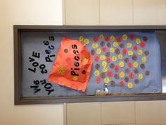 "Nelson PTA thank you/ welcome back door for the teachers and staff. ""we love you to pieces"" reeses pieces bag spilling out all the staff names!"