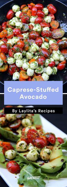 9. Caprese-Stuffed Avocado #healthy #recipe #stuffedavocado #avocado http://greatist.com/eat/stuffed-avocado-recipes