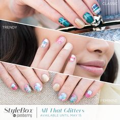 We've put an oh-so-glittery twist on some of our best selling catalog designs and paired them with sparkling exclusives to bring you glitz and glam looks, all-in-one box! Plus, we've added an exclusive glitter-gold BONUS lacquer, 'Foiled' so you can mix-and-match this month's #StyleBoxJN exclusives to create a custom look that's simply unstoppable! #Jamberry #nailwraps #lacquer #diynails #nailart  https://jamwithalyssajo.jamberry.com/us/en/