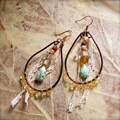 Desert Maiden - Romantic tribal gypsy hammered hoop earrings