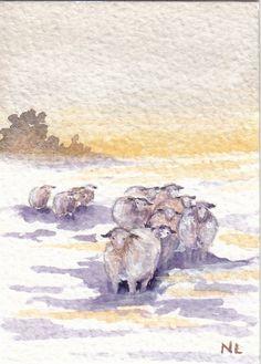 ACEO Miniature Card Original Watercolour - Dales Sheep - Yorkshire UK Snow