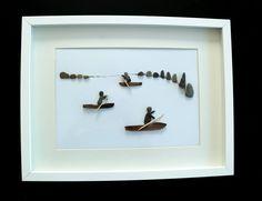 PISCES - Pebble art - kayakers, image 30 x 40 framed by naturalblack on Etsy https://www.etsy.com/listing/533524837/pisces-pebble-art-kayakers-image-30-x-40