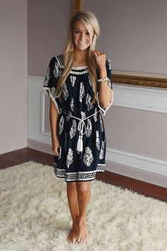 A Lightweight navy dress with a string that ties in the middle. Can be worn on or off shoulder. Model is a size 0 wearing a small. Cute Outfits With Jeans, Classy Outfits, Pretty Outfits, Casual Dresses, Fashion Dresses, Summer Dresses, Spring Summer Fashion, Spring Outfits, Dress Skirt
