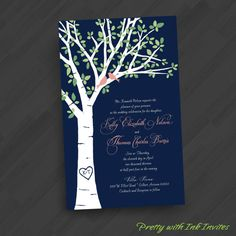 Leafy Birch Tree w/Lovebirds Invitations by PrettyWithInkInvites