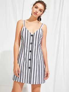 Shop Button Through Striped Cami Dress online. SheIn offers Button Through Striped Cami Dress &dress more to fit your fashionable needs. Cotton Dresses, Cute Dresses, Casual Dresses, Short Dresses, Casual Outfits, Fashion Dresses, Maxi Dresses, Summer Outfits, Summer Dresses