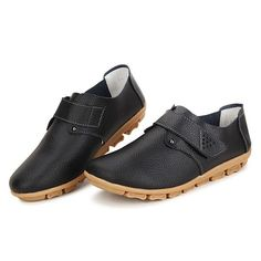 Hot-sale Casual Leather Soft Sole Hook Loop Flat Slip On Loafers For Women - NewChic