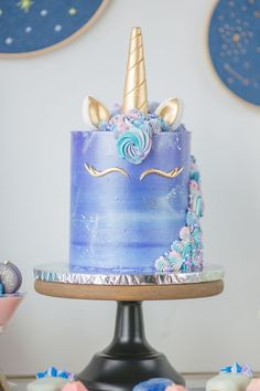 Purple galaxy unicorn cake with golden horn, ears and lashes with cascading pink. Purple galaxy unicorn cake with golden horn, ears and lashes with cascading pink. - Purple galaxy unicorn cake with go. Purple Cakes, Purple Wedding Cakes, Cute Desserts, Wedding Desserts, Pear And Almond Cake, Unicorn Wedding, Birthday Cake Girls, Unicorn Birthday, Birthday Cakes