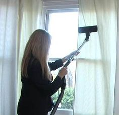 Why clean the drapes? White Way Cleaners pulls back the curtain on cleaning tips, and sheds some light on why you should wash your window fixings! Window Fixings, Drapery, Curtains, Types Of Window Treatments, Window Cleaner, Cleaning Hacks, Blinds, Room Ideas, Dressing