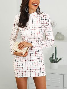 4266879bdc2 Shop Colorful Plaid Mock Neck Work Dress – Discover sexy women fashion at  IVRose