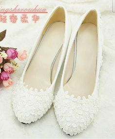 Wholesale Wedding Shoes - Buy Wedding Shoes Handmade Lace Flower Pearl Bow White Wedding Shoes Bridal Shoes Bridesmaid Shoes Single Shoes, $57.68 | DHgate