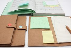 FABRIC ORGANIZER WITH NOTEBOOK, STICK NOTES AND INDEX CARDS  # ORGANIZER - A6 Notebook Cover It looks like paper, but is made of fabric! -Two interior