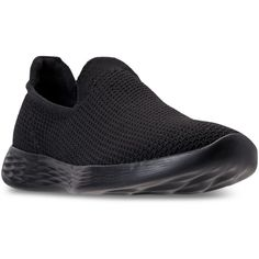 Skechers Women's 4 You Define Casual Walking Sneakers from Finish Line... ($60) ❤ liked on Polyvore featuring shoes, sneakers, black, black sneakers, slip on shoes, pull on sneakers, slip on sneakers and woven sneakers