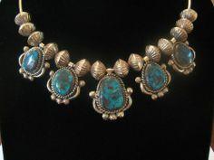 Important Rare Navajo 14k Gold Bisbee Turquoise Necklace, Jack Adakai, c1970s |