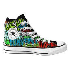 Converse All Stars - 'Metal Cartoon' Print High Top Boot (Mu ...