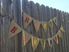 HAPPY BIRTHDAY CRAYON Burlap Banner / Bunting / by TwoChikkadees