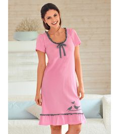 Lounge Outfit, Lounge Wear, Pyjamas, Night Suit For Women, Ropa Interior Boxers, Night Gown Dress, Sexy Dresses, Short Sleeve Dresses, Pijamas Women