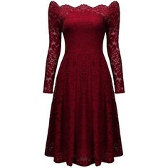 MissMay Women's Vintage Floral Lace Long Sleeve Boat Neck Cocktail... (€38) ❤ liked on Polyvore featuring dresses, long sleeve cocktail dresses, cocktail dresses, vintage cocktail dresses, red long sleeve dress and red formal dresses