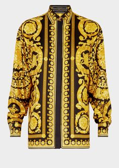 Barocco Print Silk Shirt from Versace Women's Collection. Long sleeve, button up silk shirt featuring gold tone Medusa button accents on… – Sweatshirt Gianni Versace, Versace Men, Versace Fashion, Yellow Long Sleeve Shirt, Long Sleeve Shirts, Printed Sweatshirts, Printed Shirts, Patterned Button Up Shirts, Bustier