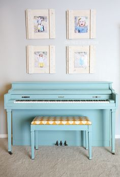 aqua chalk painted piano