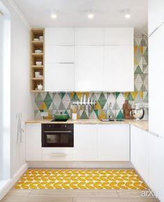 Дизайн небольшой квартиры для девушки (кухня) интерьер, назначение - квартира, дом | тип - кухня | площадь - 0 - 10 м2 | стиль - скандинавский. Разместил INT2architecture на портале arXip.com