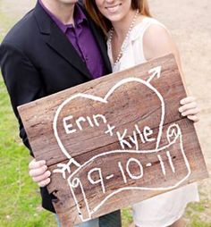 Another cute distressed sign that would be great for wedding announcement photos, wedding decor, and a great keepsake!