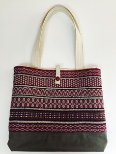 Barbara Pickel - totebag with purple handwoven rosepath front panel