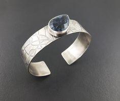 Pietersite Cuff, faceted pietersite, pietersite bracelet, cuff bracelet, sterling silver, blue pietersite, michele grady, pietersite jewelry by MicheleGradyDesigns on Etsy