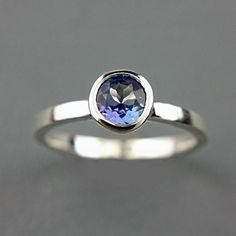 Natural Tanzanite Ring Sterling Silver Blue by ManariDesign