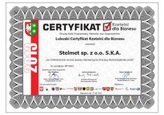 Lubuski Certyfikat Rzetelni dla Biznesu - 2013 dla STELMETU