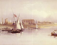 David Roberts - The Temple Of Luxor As Seen From The Nile in 1839
