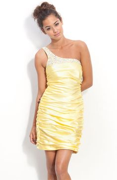 Way-In Jeweled One Shoulder Ruched Satin Dress (Juniors) available at Nordstrom