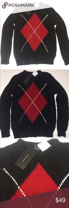 Zara - Men's Sweater Diamond Pattern Acrylic Black Zara - Men's Distressed Sweater Diamond Pattern Acrylic Black and Red Argyle print. Zara Sweaters Crewneck