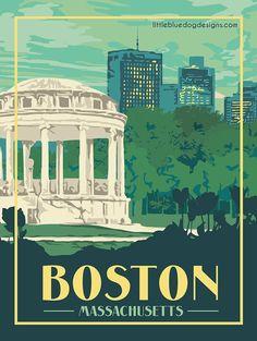 Copyright 2020 Little Blue Dog Designs Boston Massachusetts, Blue Dog, Rest Of The World, Vintage Travel Posters, Dog Design, Color Themes, London England, New Zealand, North America