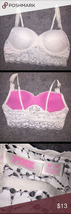 White lace PINK push up bra White lace push up bra from PINK! Never worn, too big. PINK Victoria's Secret Intimates & Sleepwear Bras