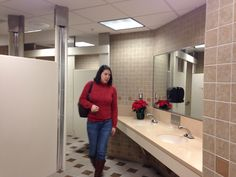 Bathrooms. 2 sets of each located near he two entryways