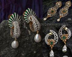 Jewellery Designs: Pearl Drops Diamond Earrings Sets