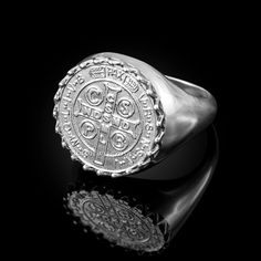 Solid White Gold Saint Benedict Medal Mens Ring