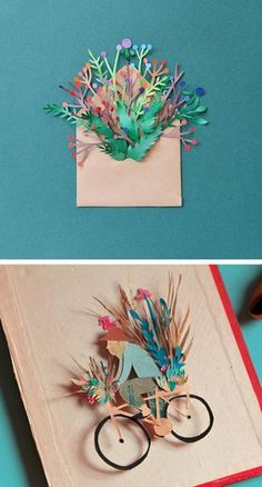 10 Examples of Cut Paper Illustration to Put You in Tune with Nature – Origami Kirigami, 3d Paper Art, Paper Artwork, Paper Cutting Art, Paper Tree, Colour Paper Craft, Paper Flower Art, Paper Paper, Paper Flowers Diy
