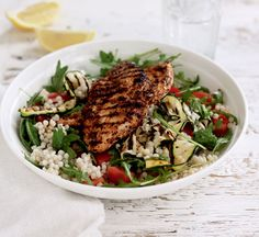 Pepper chicken with giant couscous salad - Healthy Food Guide