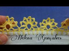 *** Bico de crochê #221 - YouTube Crochet Cord, Filet Crochet, Love Crochet, Crochet Trim, Easy Crochet, Crochet Flower Scarf, Crochet Flowers, Crochet Doilies, Crochet Edging Patterns