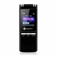 Etekcity 8GB 560Hours Digital Voice Recorder & MP3 Music Player, Built-in Loudspeaker (Certified Refurbished) - Newest Printers ,Scanners, Projector, Portable Audio & Video, Mouse,keyboard,Speacker,Headphone