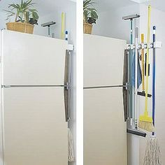 This is too cool. This slides back and forth so you can put your brooms, mop, swiffers etc in the small space between the wall and the 'frig.