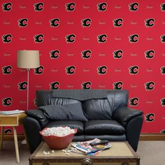 Calgary Flames: Stripes Pattern (Red) - Officially Licensed Removable Wallpaper